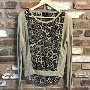 Long Sleeve Leopard Mixed Material Top
